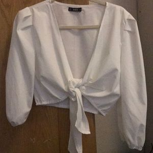 Cropped shirt that ties in the front.